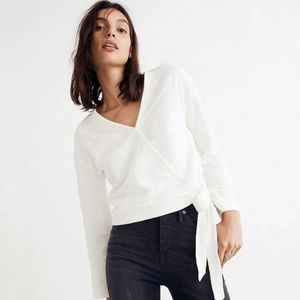 Madewell White Faux Wrap Blouse
